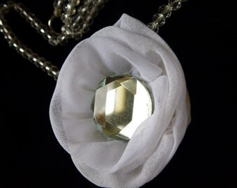 Necklace for bride. Mousseline silk and crystal.
