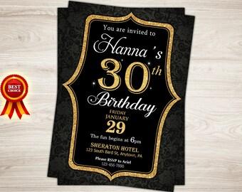 Surprise 30th birthday invitation. Gold Glitter 40th Birthday Invitation for Women. Surprise birthday party invitation. Printable invite