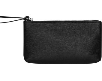 Black leather clutch leather bag leather cosmetic bag leather makeup bag handmade of Italian Genuine Leather, metal zipper simple and modern