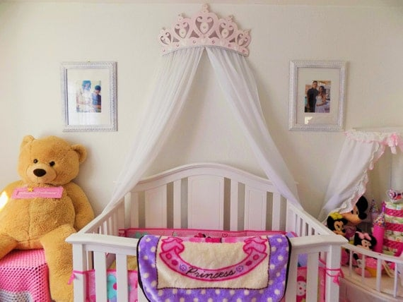 crib canopy bed crown pink princess wall decor. Black Bedroom Furniture Sets. Home Design Ideas