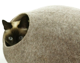Cat bed/house/cave. FREE SHIPPING. From natural felted wool. Color Sand Brown. Size M. Made by kivikis.