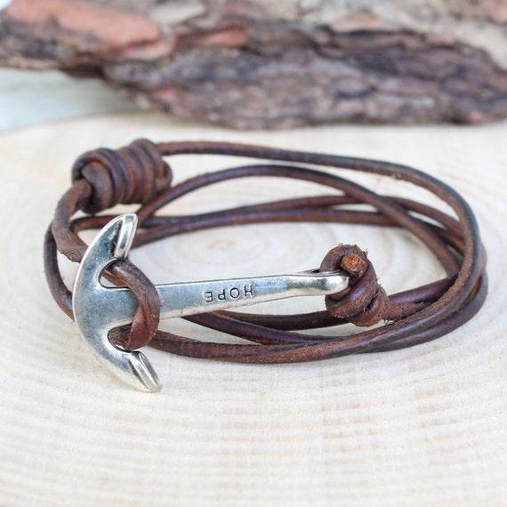 Bracelet en cuir de l 39 ancre bracelet ancre mens bracelet - Bracelet couple ancre ...