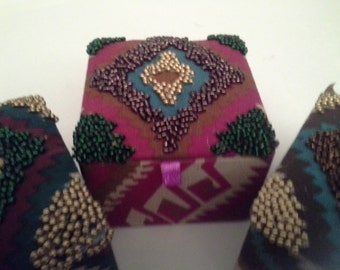 3 beaded cloth covered boxes