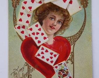 Vintage Valentine Postcard Early 1900's Fortune Series