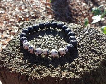 Unisex Dalmatian Jasper & Black Lava Stone Grounding Stone Bracelet Reiki Healing Chakra Balancing Gemstones Women's Men's Semi Precious