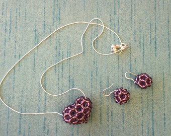 Handmade, ball earring, heart necklace combo.