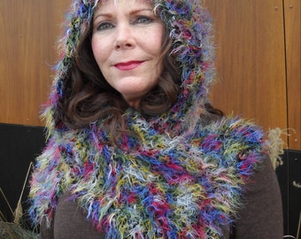 Soft Colorful Fur-like Hooded Scarf