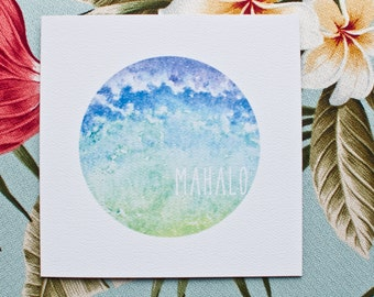 THANK YOU CARDS // Mahalo, Greeting Card, Watercolour, Watercolor, Thank You, Grateful, Admiration, Praise, Respect, Love, Hawaii, Tropical
