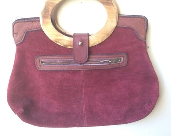 1970-80s suede purse made in Hong Kong