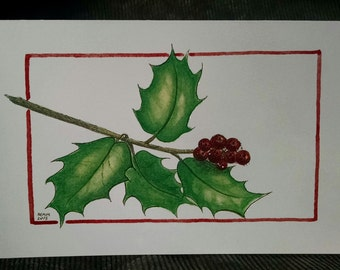 Set of 5 Holly Berry with Glitter Printed Christmas Cards