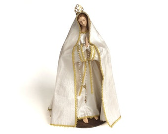 "Virgin Mary Statue of Our lady of Fatima 14"" figure Catholic Christian Saints Plaster Religious"