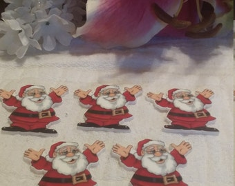 Santa clause flat back resin 5 peice set. DIY projects, scrap booking, cell phone accessories.