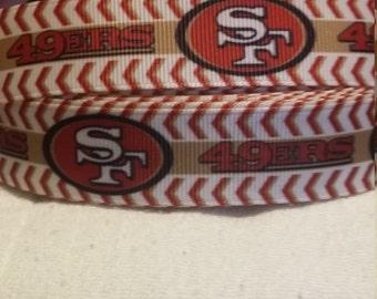 3 yards,  7/8' grosgrain ribbon San Francisco 49ers design