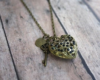 Jeweled Heart and Skeleton Key Necklace