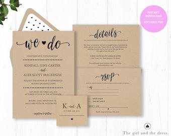 Rustic Wedding Invitation Template, Wedding Invitation Templates, Wedding Cards, Cheap Wedding Invitations, Printable Wedding Invitations,