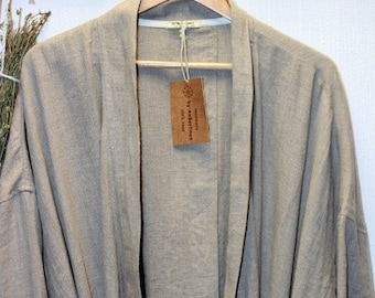 "Organic Linen Men""s robe/Stonewashed Lithuanian linen Dark blue/Charcoal/Undyed /linen bath robe/designed by AnBerlinen /Father""s day gift"