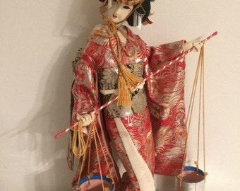 Beautiful Vintage Japanese Geisha Doll w/ Two Water Buckets