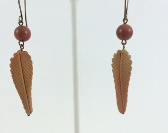 Goldstone and Clay Leaf Earrings
