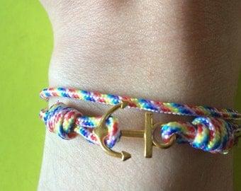 Strap anchor marine in rope multicolor Rainbow