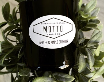 9oz, Black, glass votive, 100% soy candle---your choice of fragrance
