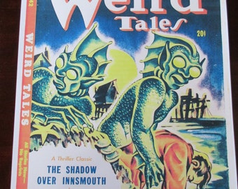 Weird Tales Magazine Cover Poster H.P. Lovecraft Shadow Over Innsmouth