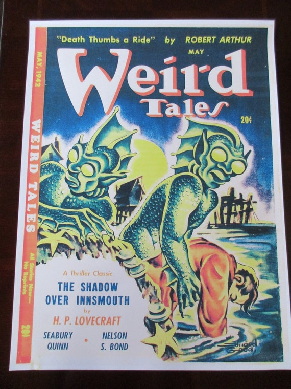 Weird Tales Magazine Cover Poster H P Lovecraft Shadow Over