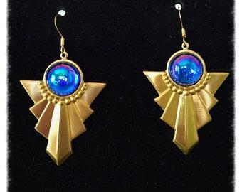 Royal Blue Deco Earrings