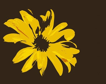 Greeting card_008 - Yellow flower on black background