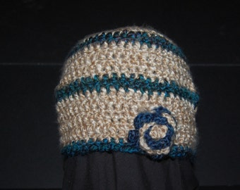 Teal & Beige Flower Crocheted Hat