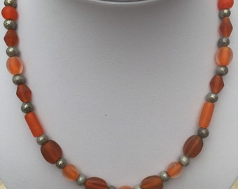 Orange Czech Glass Beaded Necklace