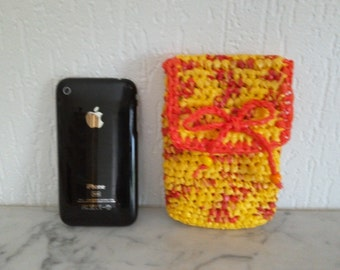 Upcycling, Holster, pouch smartphone of recycled orange/yellow belt hooked with bags plastic trade