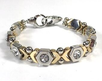 Silver and Gold Patterned Bracelet