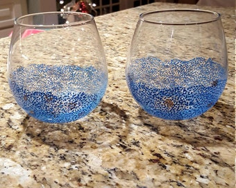 Hand painted stemless wine glasses 4 Count