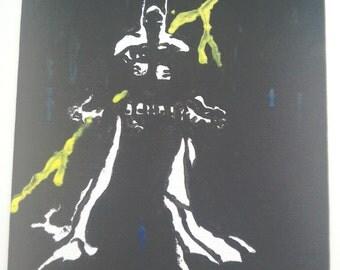 Bat on flat canvas