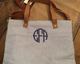 Seersucker Shoulder Bag, Bridesmaid Gift, Monogrammed Shoulder Bag, Monogrammed Purse, Personalized Bag, Monogrammed Bag, Gift for her, bags