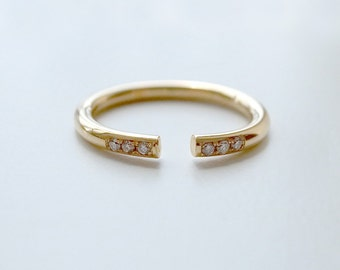 open ring in 18k gold or rose gold by a cup of ring non traditional - Nontraditional Wedding Rings
