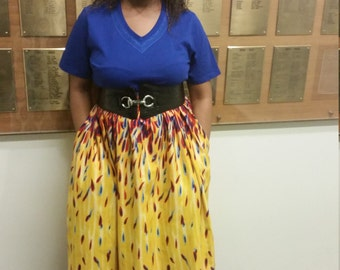 Maxi skirt with elastic waist. Summer colors, african print.