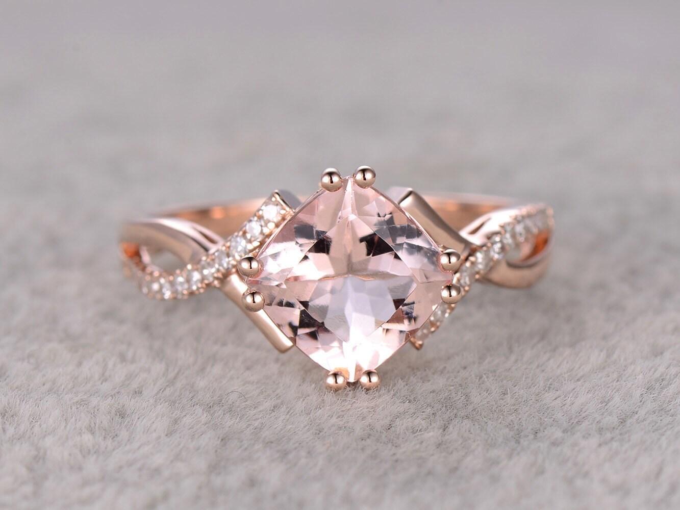 7mm cushion morganite engagement ring rose golddiamond. Black Bedroom Furniture Sets. Home Design Ideas