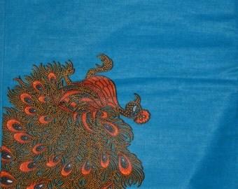 Blue Java Rooster Feather Wax Prints African Ankara Fabric Per Yard
