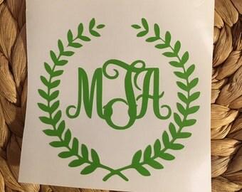 Laurel Wreath Monogram Vinyl Decal