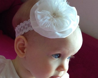 Christening headband, baby headband, ivory headband, baptism headband, flower girl headband