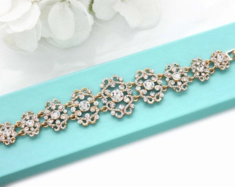 GOLD crystal bracelet, Bridal bracelet, Bridesmaid bracelet, Wedding jewelry, Rhinestone bracelet, Wedding bracelet, Wedding accessory 0144G