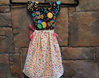 Happy Birthday Oven Door Towel Dress