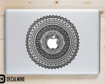 Black Pattern Mandala Round MacBook Decal Designer Vinyl Sticker Removable Vinyl Decal MacBook Pro Sticker MacBook Air Decal
