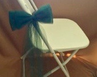 TULLE CHAIR BOWS Flat And Fun Sold In Sets Of 6  Forest Green