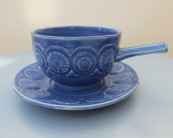 Soup bowls and saucers - Blue TAMS pottery