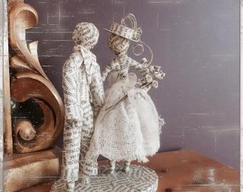 Paper mache - bride and groom - figures, wedding cake topper