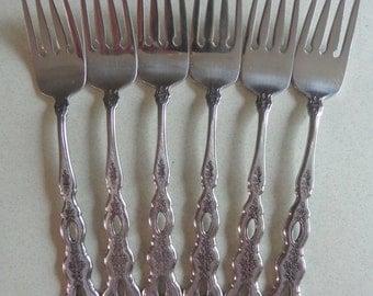 Oneida Fantasy Vintage flatware Community Stainless 6 Salad Forks Pierced Handles Flowers