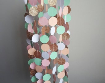 Peach , Pink , Mint, Gold Glitter & White Mobile , Baby Mobile , Glitter Mobile , Blush , Nursery Decor , Paper Mobile, Baby Girl, Babyroom