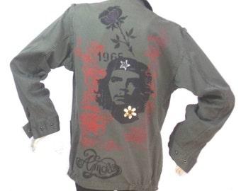 Military Jacket ASKustom4U Che Guevara badges Size M